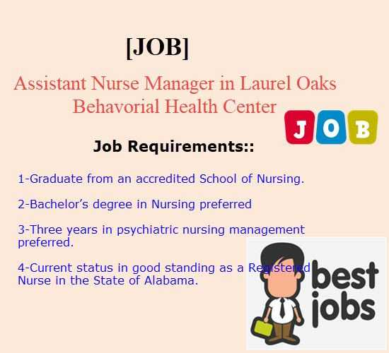 Assistant Nurse Manager in Laurel Oaks Behavorial Health Center