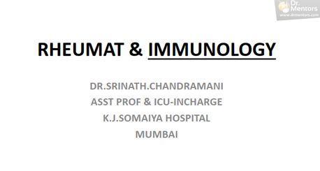 Rheumatology And IMMUNOLOGY Notes [PDF] By Dr. Srinath.Chandramani