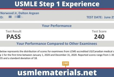 2021 USMLE Step 1 Experience Score 240